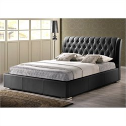 Atlin Designs Queen Faux Leather Tufted Platform Bed in Black