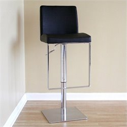 Atlin Designs Adjustable Leather Bar Stool in Black