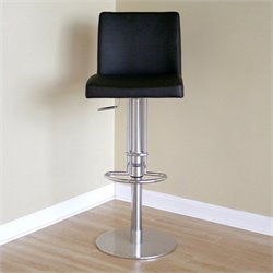 Atlin Designs Adjustable Swivel Leather Bar Stool in Black