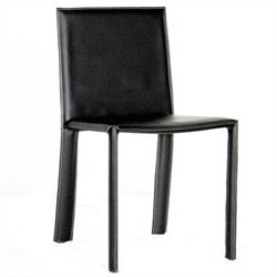 Atlin Designs Leather Dining Chair in Black (Set of 2)