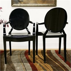 Atlin Designs Acrylic Accent Chair in Black (Set of 2)
