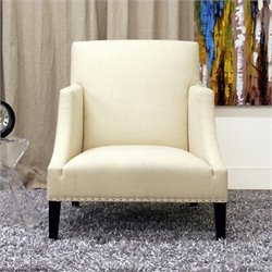 Atlin Designs Fabric Swayback Accent Chair in Ivory