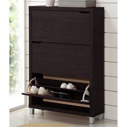 Atlin Designs Modern Shoe Cabinet in Dark Brown