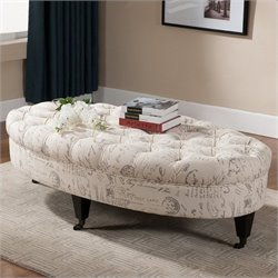 Atlin Designs Tufted Ottoman with Casters in Beige Print