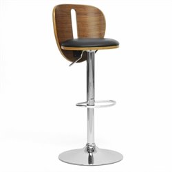 Atlin Designs Adjustable Swivel Faux Leather Bar Stool in Black