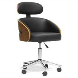 Atlin Designs Faux Leather Swivel Office Chair in Black