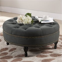 Atlin Designs Tufted Ottoman in Gray