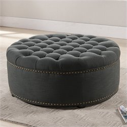 Atlin Designs Round Upholstered Ottoman in Gray