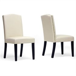 Atlin Designs Faux Leather Dining Chair in Beige (Set of 2)