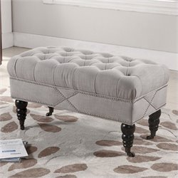 Atlin Designs Tufted Bench with Casters in Beige