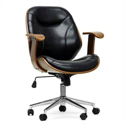 Atlin Designs Faux Leather Swivel Office Chair in Walnut and Black