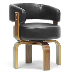 Atlin Designs Faux Leather Swivel Accent Chair in Walnut and Black