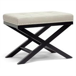 Atlin Designs Faux Leather Foot Stool in Beige