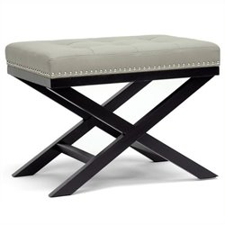 Atlin Designs Faux Leather Foot Stool in Gray