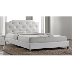Atlin Designs Upholstered Faux Leather Platform Bed in White