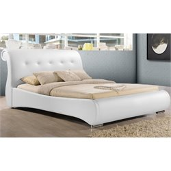 Atlin Designs Upholstered Faux Leather Sleigh Bed in White