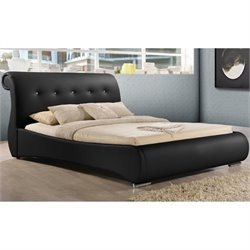 Atlin Designs Upholstered Faux Leather Sleigh Bed in Black