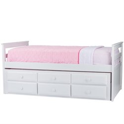 Atlin Designs Wood Twin Captain's Bed with Trundle in White