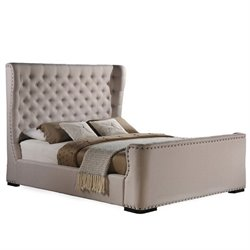 Atlin Designs Upholstered Queen Platform Bed in Light Beige