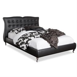 Atlin Designs Upholstered Leather Platform Bed in Black