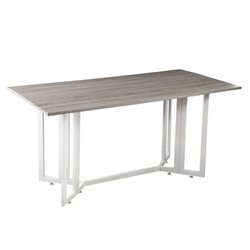 Atlin Designs Drop Leaf Dining Table in Weathered Gray and White