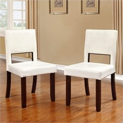 Atlin Designs Faux Leather Dining Chair in White (Set of 2)