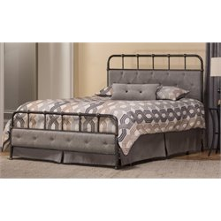 Merch-1188 Upholstered Spindle Panel Bed in Rubbed Black-Q