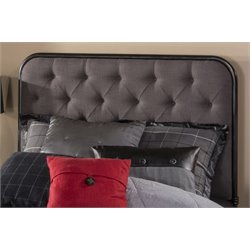 Merch-1188 Upholstered Tufted Panel Headboard in Black-AD