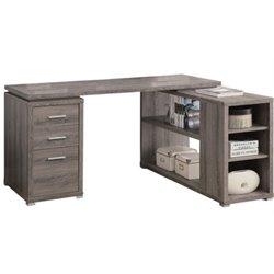 Atlin Designs Hollow Core L Shaped Home Office Desk in Dark Taupe