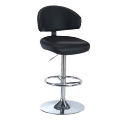 Atlin Designs Faux Leather Adjustable Bar Stool in Black and Chrome