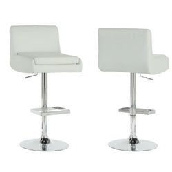 Atlin Designs Faux Leather Adjustable Bar Stool in White (Set of 2)