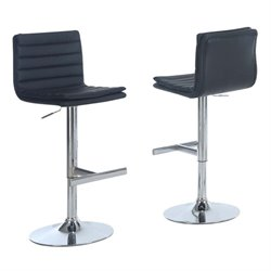 Merch-1188 Faux Leather Adjustable Swivel Bar Stool (Set of 2)