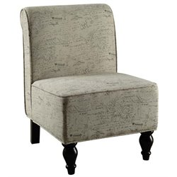 Atlin Designs Traditional Fabric Accent Chair in Vintage French Print