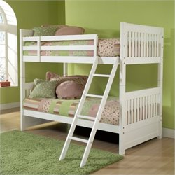 Rosebery Kids Twin Over Twin Bunk Bed with Trundle in White