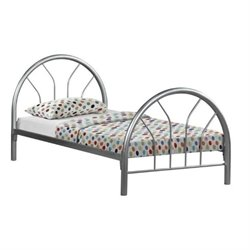 Rosebery Kids Twin Metal Bed Frame in Silver