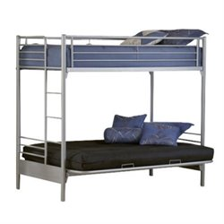 Rosebery Kids Twin Over Futon Bunk Bed in Silver