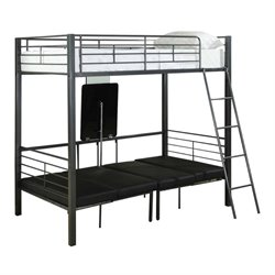 Rosebery Kids Twin Over Twin Metal Bunk Bed in Charcoal Gray