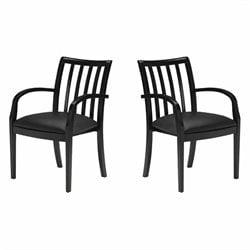 Mayline Mercado Genuine Leather Wood Chair (Set of 2)