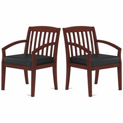 Mayline Mercado Genuine Black Leather Seat & Slat Back Solid Medium Cherry Wood Guest Chair (Set of 2)