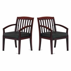 Mayline Mercado Genuine Black Leather Seat & Slat Back Solid Sierra Cherry Wood Guest Chair (Set of 2)
