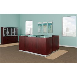 Mayline Medina Reception Station in Mahogany Laminate (2 B/B/F)