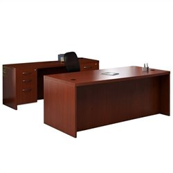 Mayline Aberdeen Conference Desk and Credenza Set in Cherry