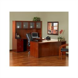 Mayline Mira Series Typical 9 Wood U-Shaped Desk Set in Medium Cherry