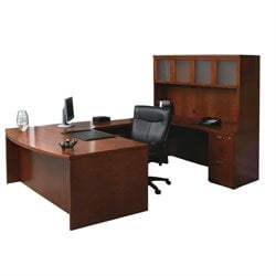 Mayline Mira U-Shape Computer Desk in Medium Cherry