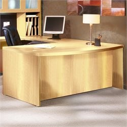 Mayline Aberdeen Bow Front Computer Desk Shell in Maple