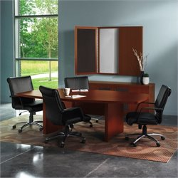 Mayline Aberdeen Boat Shaped Conference Table with Slab Base in Cherry