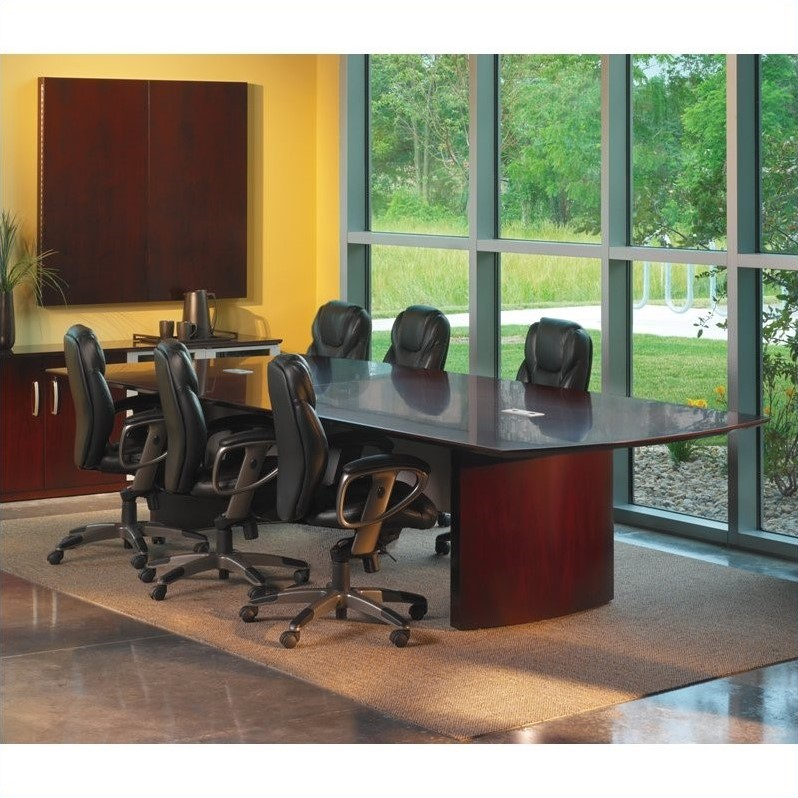 Mayline Napoli Curved End Conference Table in Mahogany