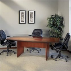 Mayline Corsica Boat Shaped 8' Conference Table with Slab Base
