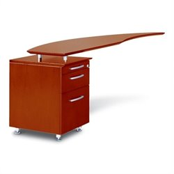 Mayline Napoli Curved Desk Left Return in Sierra Cherry