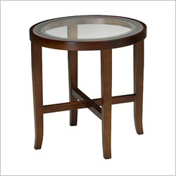 Mayline Illusion Round Glass Top End Table in Bourbon Cherry